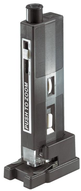 Taschenmikroskop, 60fach bis 100fache Vergrößerung, Optik aus Si