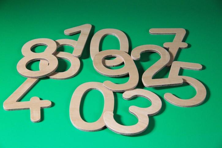 Zahlensatz aus Holz