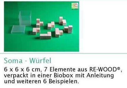 SOMA-Würfel, 6x6x6 cm, Naturwürfel aus RE-WOOD®