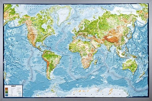 Reliefkarte Silverline, Welt, physisch, deutsch, im Holzrahmen