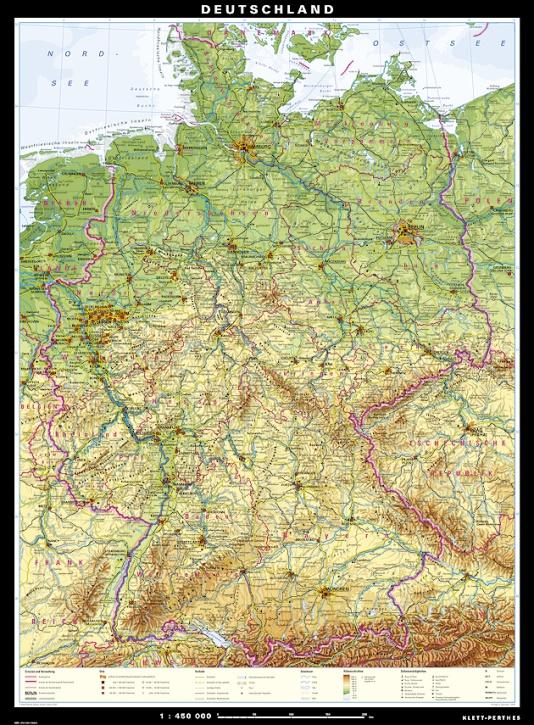 Wandkarte Deutschland, physisch