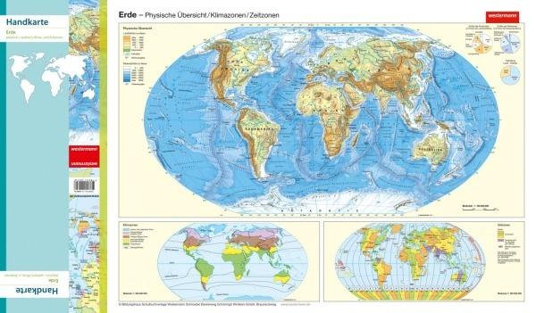 Handkarte (im 10er Set) Die Erde, physisch/politisch