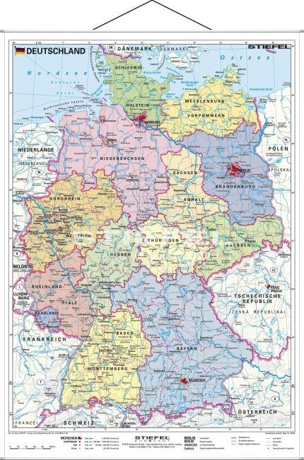 Wandkarte Deutschland, politisch, Format: 120 x 160cm