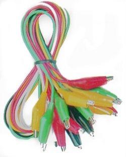 Satz Verbindungskabel, mehrfarbig, 10 Kabel mit Klemmen