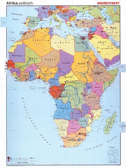 Wandkarte Afrika, politisch, 140x190 cm