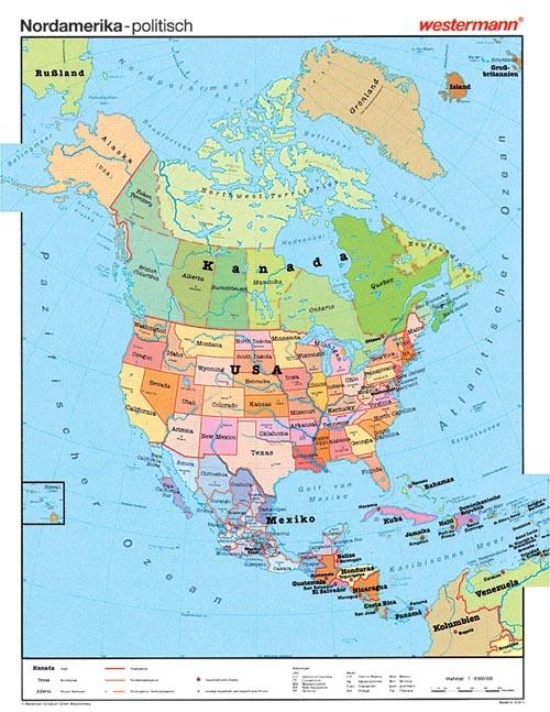 Wandkarte Nordamerika, politisch, 140x180 cm
