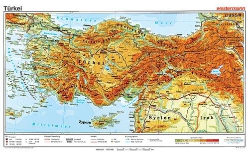 Wandkarte Türkei, physisch, 160x100 cm