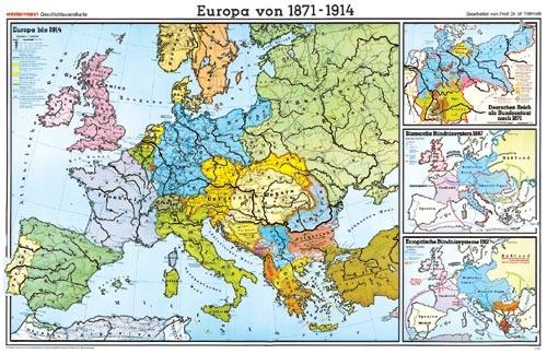 Wandkarte Europa von 1871 bis 1914, 202x147 cm