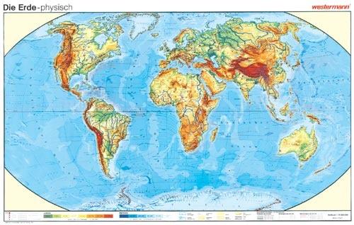 Wandkarte Die Erde, physisch, 245x125 cm, mit Bestäbung