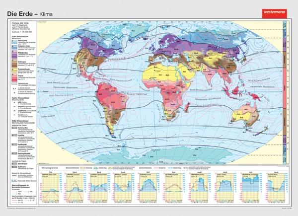 Wandkarte Die Erde, Klimazonen (nach Siegmund und Frankenberg)