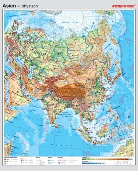 Wandkarte Asien, physisch/politisch, 147x180 cm