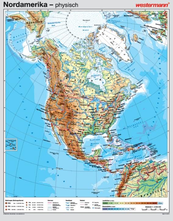 Wandkarte Nordamerika, phys./pol. 131x167cm, mit Bestäbung