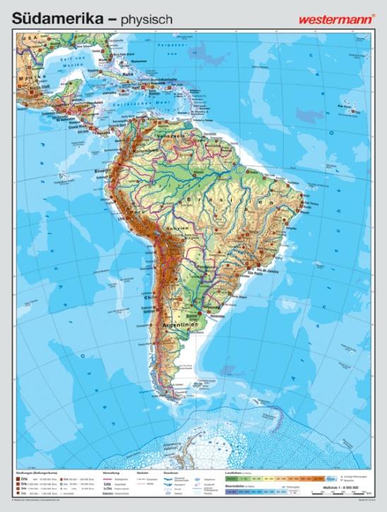 Wandkarte Südamerika, physisch/politisch, 127x169 cm