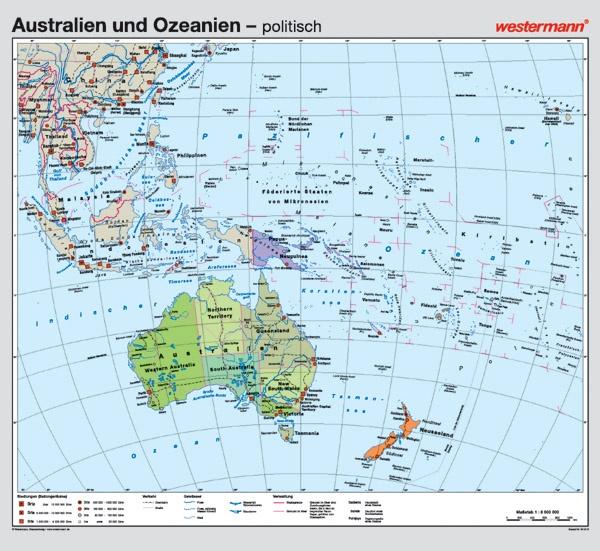 Wandkarte Australien und Ozeanien, phys./pol., 158x145cm, mit Bestäbung