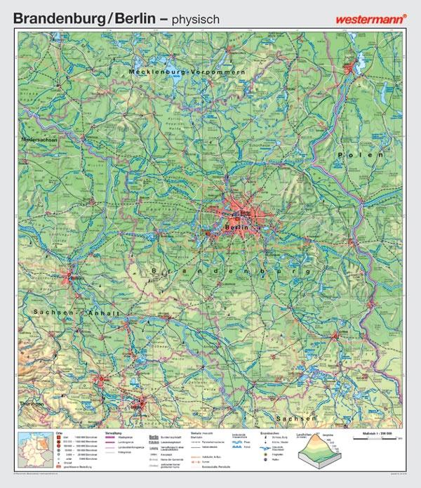 Wandkarte Brandenburg, physisch/politisch, 147x171 cm