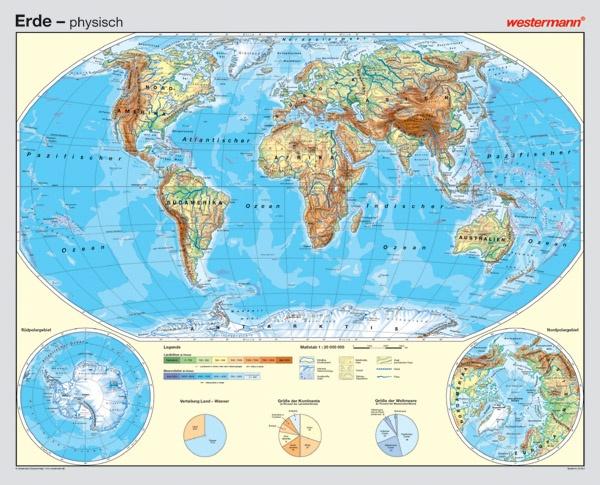 Wandkarte Die Erde, physisch/politisch, 186x150 cm
