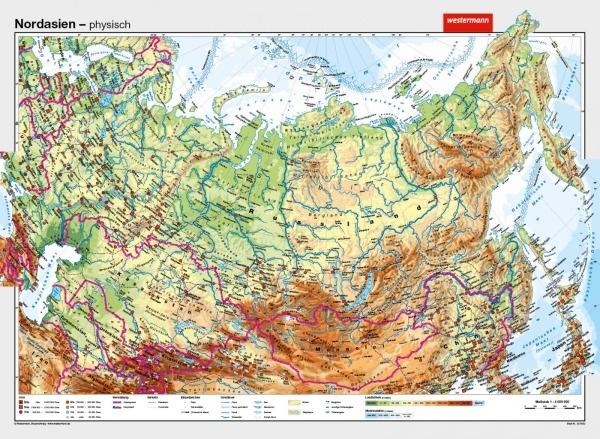 Wandkarte Nordasien, physisch/politisch, 202x148 cm