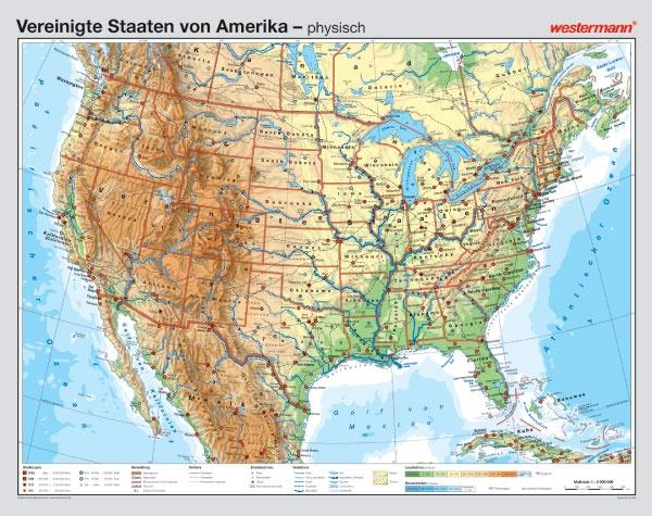 Wandkarte USA, physisch/politisch,  187x148cm
