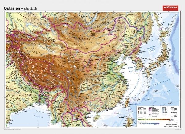 Wandkarte Ostasien China, physisch/politisch, 202x147cm