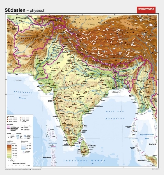 Wandkarte Südasien Indien, physisch/politisch, 147x157