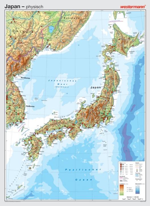 Wandkarte Japan, physisch/politisch, 147 x 202cm