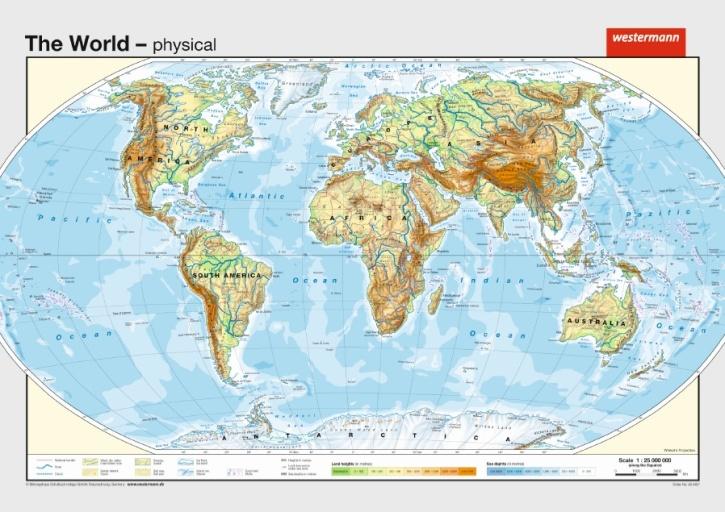Wandkarte Die Erde, physisch, englische Ausgabe, 140x100 cm
