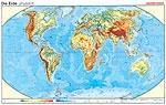 Wandkarte Die Erde, physisch/stumm, 140x100 cm