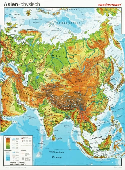 Wandkarte Asien,  physisch/politisch, 98x137cm
