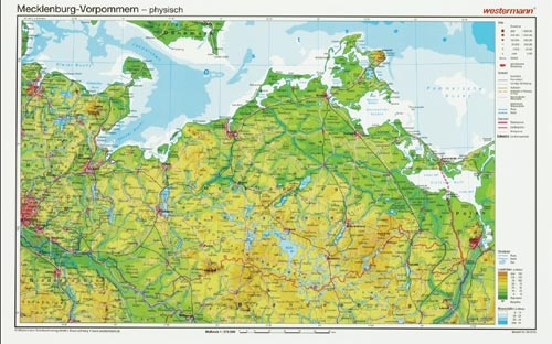 Posterkarte Mecklenburg-Vorpommern, physisch, 5 Stück in Papprolle