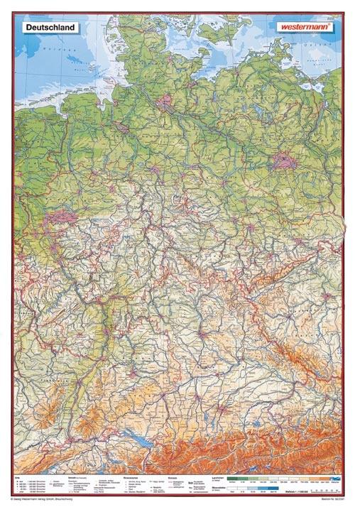 Posterkarte Deutschland, physisch (P) 100x70 cm