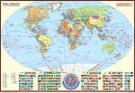 Posterkarte Die Erde, politisch (P) mit Flaggen, 100x70 cm