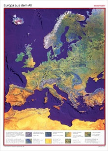 Posterkarte Europa aus dem All (Weltraumbild), 100x70 cm