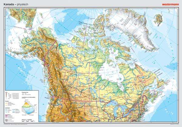 Posterkarte Kanada, physisch, 100 x70 cm, 1:800 000