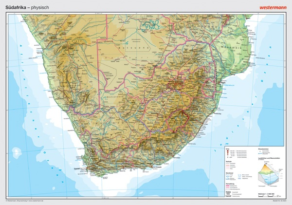 Posterkarte Südafrika, physisch, 100 x70 cm, 1:300 000