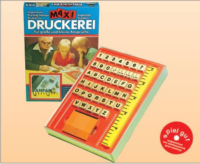 Druckerei Maxi I, 44 Stempel Großbuchstaben, Ziffern und Zeichen