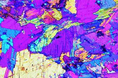 Diorit, Gesteinsdünnschliff Dauerpräparat