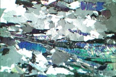 Glimmerschiefer, Gesteinsdünnschliff Dauerpräparat