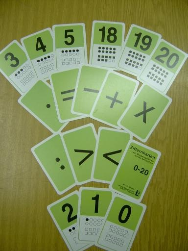 Ziffernkartenset 0 bis 20, mit Mengensymbolen und Rechenzeichen