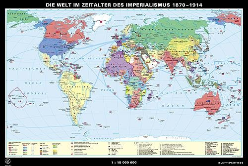 Wandkarte Die Welt im Zeitalter des Imperialismus