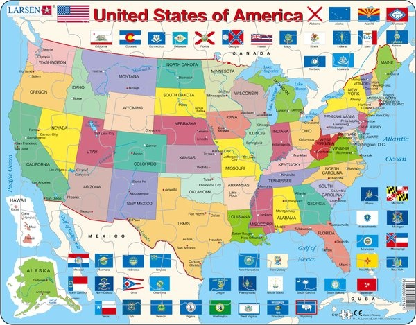 Puzzle - United States of Amerika, englisch, Format 36,5x28,5 cm