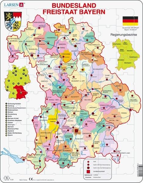 Puzzle - Freistaat Bayern, politisch, Format 36,5x28,5 cm, Teile 70