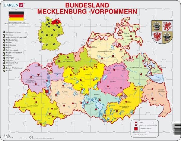 Puzzle - Mecklenburg-Vorpommern, politisch, Format 36,5x28,5 cm,