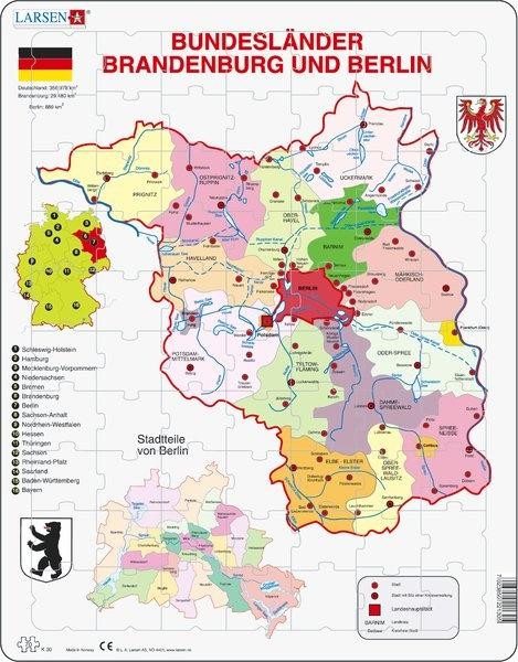 Puzzle - Berlin und Brandenburg, politisch, Format 36,5x28,5 cm,