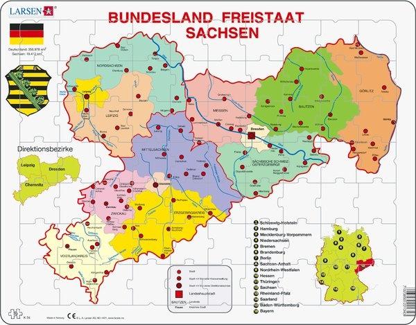 Puzzle - Sachsen, politisch, Format 36,5x28,5 cm
