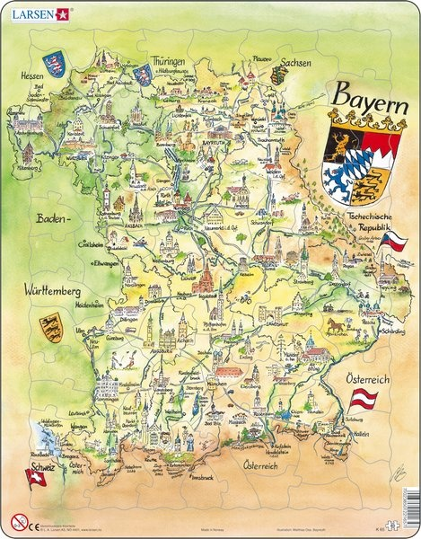 Puzzle - Bayern, Panoramabild, Format 36,5x28,5 cm, Teile 80