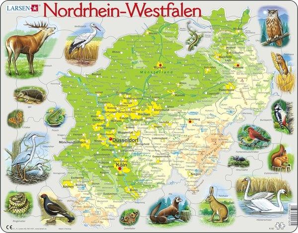 Puzzle - Nordrhein-Westfalen, physisch, Format 36,5x28,5 cm, Tei