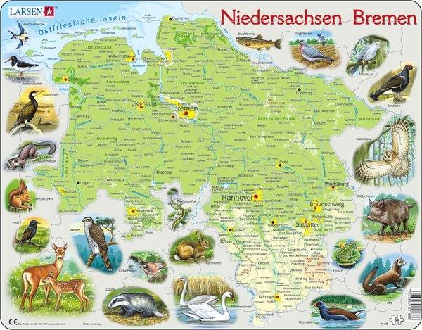 Puzzle - Niedersachsen und Bremen, physisch