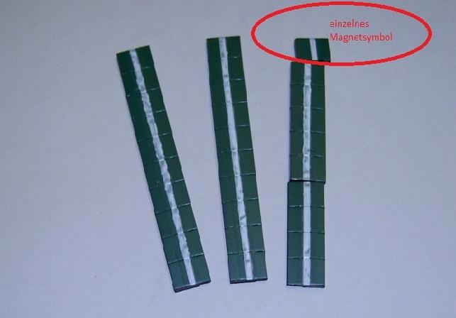 Magnetsymbol für Zusatzplan, 10x15mm, dunkelgrün mit weißem Streifen