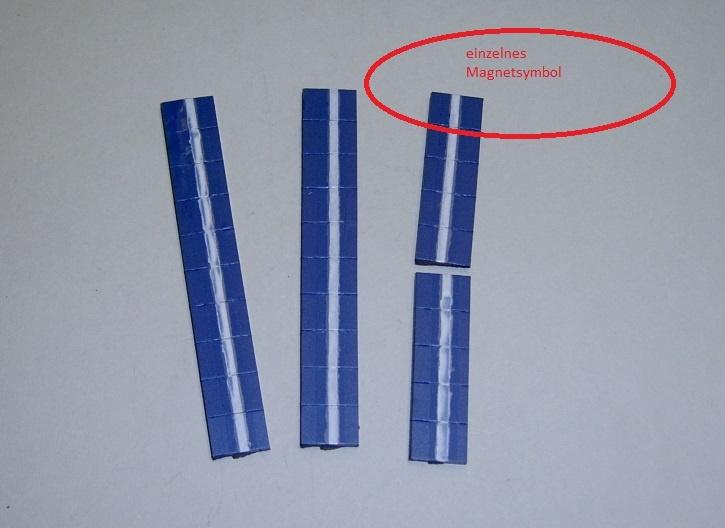 Magnetsymbol für Zusatzplan, 10x15mm, dunkelblau mit weißem Streifen