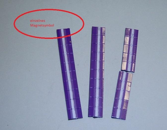 Magnetsymbol für Zusatzplan, 10x15mm, violett mit weißem Streifen